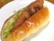 白身魚のフライのホットドッグサンド